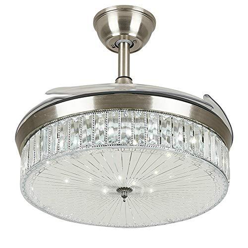 Ventilador de techo invisible de 100 cm con iluminación y mando a distancia, lámpara de araña plateada de cristal regulable
