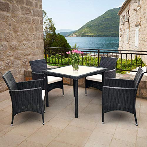Tangkula 5PCS Patio Wicker Dining Set, Outdoor Lawn Garden Wicker Rattan Table and 4 Chairs, Sofa Furniture Set Cushioned Seat Conversation Set with Removable Cushions & Table Patio Furniture (Black)