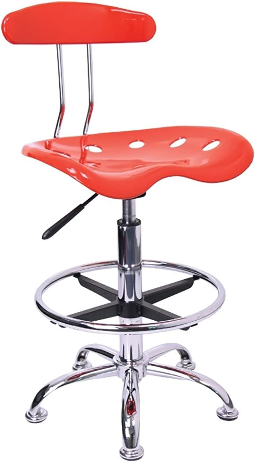 Offex Vibrant Drafting Stool with Tractor Seat, Red and Chrome
