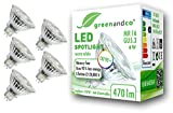 5x Spot LED greenandco® IRC 90+ 3000K 36°GU5.3 MR16 6W (corresponde a 45W) 470lm SMD LED 12V AC/DC, no regulable