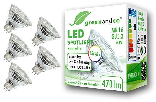 5x greenandco® CRI90+ 3000K 36° LED Spot ersetzt 45 Watt GU5.3 MR16 Halogenstrahler, 6W 470 Lumen warmweiß SMD LED Strahler 12V AC/DC Glas mit Schutzglas, nicht dimmbar, 2 Jahre Garantie
