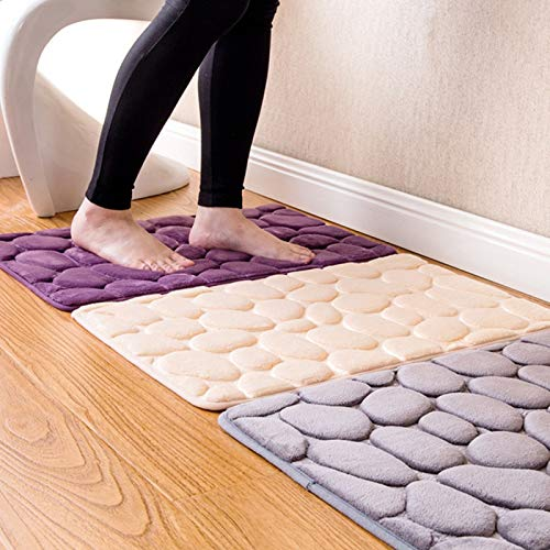 GSOLOYL 40 * 60CM Coral Fleece Badezimmer Memory Foam Teppich Kit WC Muster Bade Anti-Rutsch-Matten Boden Teppichboden Set Matratze for Badezimmer-Dekor