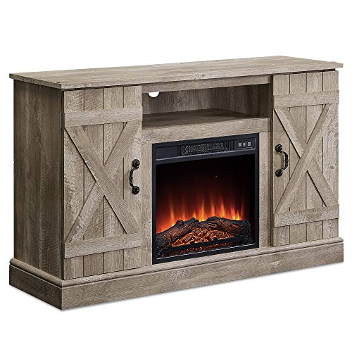 47 Inch Wooden Infrared Electric Fireplace, TV Stand Up to 50' with Heater Fireplace, Realistic Glowing Log Burn Flame Heater Storage Entertainment Room Organizer TV Shelf Door Cabinet, Ashland Pine