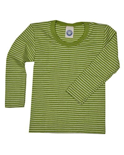Cosilana Kinder Unterhemd Langarm aus Wolle und Seide (152, Grün Geringelt)