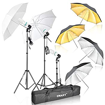 Emart Photography Umbrella Lighting Kit 1575W 5500K Photo Video Studio Continuous Reflector Lights for Camera Portrait Shooting Daylight  Translucent/White Black & Silver Black & Gold
