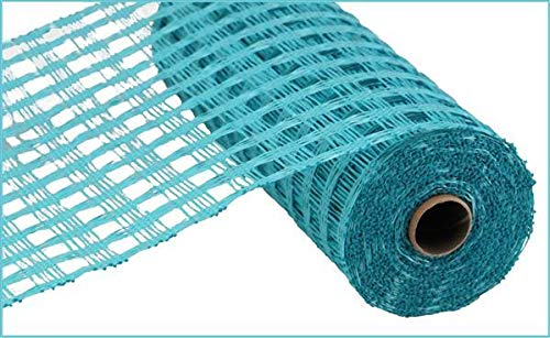 "Poly Burlap Check Deco Mesh, 10"" x 10 Yards (Turquoise)"