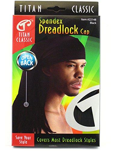 Titan Classic Open Back Spandex Dread Lock Cap - Black