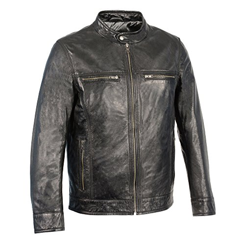 Milwaukee Leather Men's Classic Moto Leather Jacket With Zipper Front (Black, X-Large)