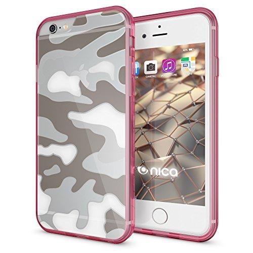 NALIA Funda Look Militar Compatible con iPhone 6 6S, Camouflage Carcasa Protectora Silicona Trasera Reforzada y Bumper, Ligera Movil Cover Case Ultra-Fina Cubierta Estuche, Color:Pink Rosa