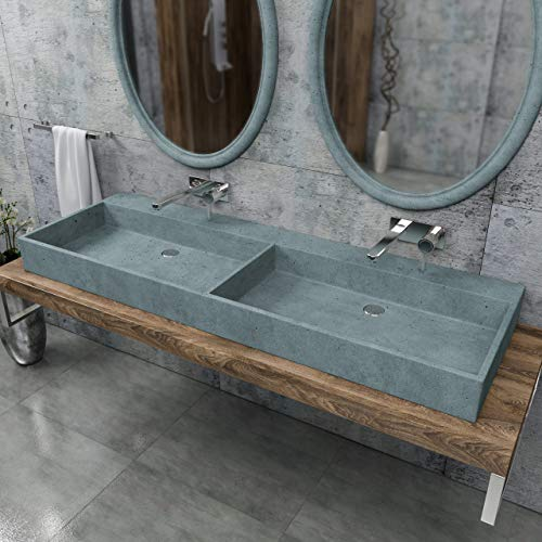 KERABAD Design Doppelwaschtisch Betonwaschbecken Waschtisch Aufsatzwaschbecken Waschschale aus Beton Grau eckig 150x50x12cm KB-B510