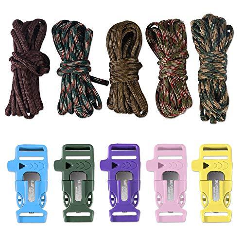 Dealikee Juego de 5 brazaletes de paracaídas para hacer tu propia pulsera, con hebilla y silbato de rescate, soporte de cuerdas de paracaídas de 400 libras, para caminatas, campamentos, etc, camuflaje