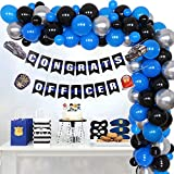 Police Graduation Decorations 2021 Blue Black Balloon Garland Arch Kit, Congrats Officer Banner for Police Academy Police Theme Graduation Class of 2021 Party Supplies