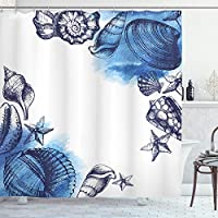 """Ambesonne Ocean Shower Curtain, Sealife Sea Shells and Sand Stones Deep Water Star Fish Blue Toned Design, Cloth Fabric Bathroom Decor Set with Hooks, 70"""" Long, Navy Blue"""