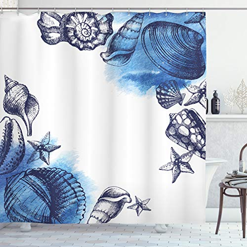 Ambesonne Ocean Shower Curtain, Sealife Sea Shells and Sand Stones Deep Water Star Fish Blue Toned Design, Cloth Fabric Bathroom Decor Set with Hooks, 75' Long, Navy Blue