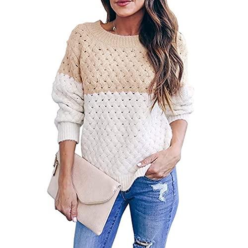 Suéter de Punto de Color contrastante para Mujer, Jersey Holgado de Moda con Cuello Redondo, Jersey de Manga Larga, otoño e Invierno S