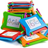 16pc Mini Magnetic Drawing Board, 4-Colors Travel Size Erasable Doodle Magna Board Toy, Small Writing Painting...