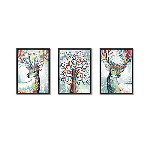 LPxdywlk Tier Wandaufkleber 3Pcs / Set 3D Deer Decals Wohnzimmer Art Decor Bild Poster 60 cm x 90 cm