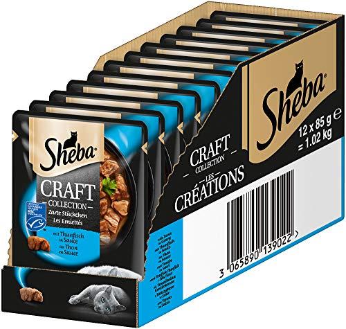 Sheba Craft Collection – Edles Nassfutter für Katzen – Zarte Stückchen mit Thunfisch und Sauce – 12 Portionsbeutel à 85g