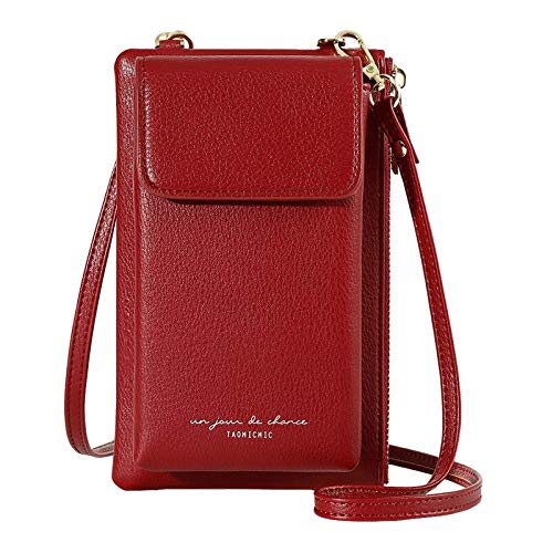 Aeeque Pequeños bolsos Crossbody para las mujeres teléfono celular monedero titular de la tarjeta de crédito cartera, rojo (Rojo), Small