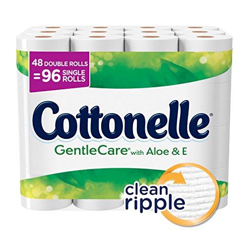 Cottonelle Gentle Care Toilet Paper, Sensitive Bath Tissue, Aloe & Vitamin E, 48 Double Toilet Paper Rolls