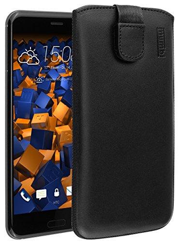 mumbi Echt Ledertasche kompatibel mit HTC U11 Hülle Leder Tasche Hülle Wallet, schwarz