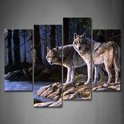 Wolf Tier Bilder Leinwand 4 Teilig Bild Wolf im Wald Fluss Wandbilder Wohnzimmer Moderne für Schlafzimmer Dekoration Wohnung Home Deko Kunstdruck