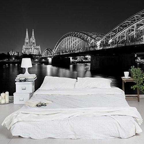 Apalis 94684 Vlies / Fototapete Köln bei Nacht II Breit | Vlies Tapete Wandtapete Wandbild Foto 3D Fototapete für Schlafzimmer Wohnzimmer Küche | Größe: 255x384 cm
