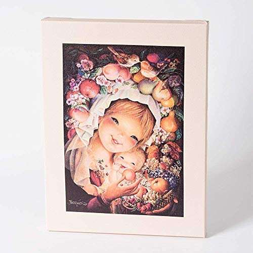 Cuadro Virgen frutos 30x40cm. Ilustración de Juan Ferrándiz impresa en lienzo. Serie limitada y numerada. Regalo Comunión y Bautizo