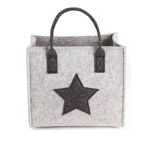 JameStyle26 ster vilt tas shopper geschenkdoos winkelmand Star dames tas mode hengseltas schoudertas vilten tas