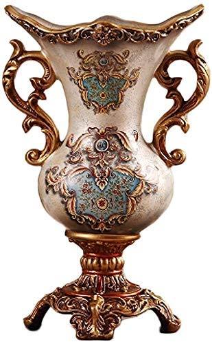 HKAFD Jarrón creativo europeo de resina vintage florero de doble oreja de vidrio grande, florero decorativo para tierra pastoral para mesa de salón o regalo de boda