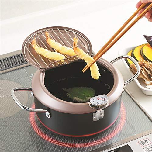 MeterMall Sartén Profunda Tempura Freidora Sartén Control de Temperatura Herramienta de Cocina 20cm Utensilio de Cocina