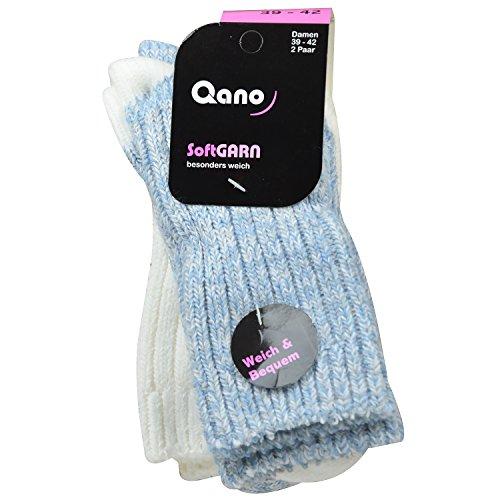 Qano 2048 2er Pack Damen / Mädchen Socken blau meliert/ natur meliert (39-42)