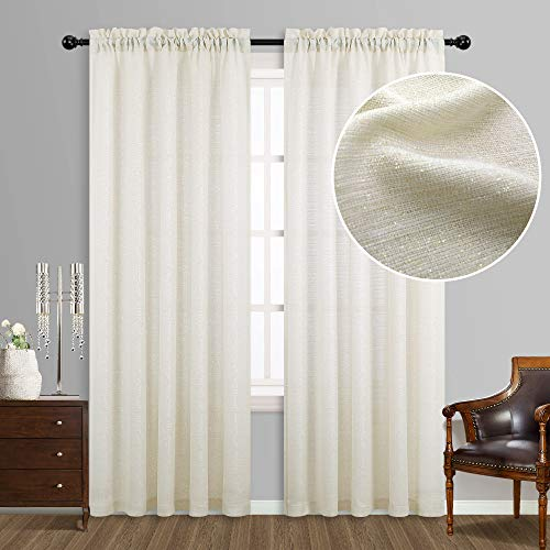 Cream and Gold Curtains 95 inches Long for Living Room Set 2 Panels Rod Pocket Semi Sheer Light Filtering Elegant Ivory Sparkle Shimmer Shiny Glitter Decorative Luxury Curtains for Bedroom