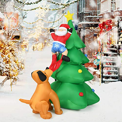 HAPPYGRILL 6.5FT Inflatable Christmas Tree Santa Decor with LED Lights for Outdoor Yard Decoration