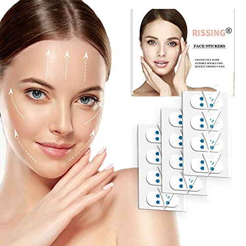 Face Lift Tape Rissing Instant Face Lift Tape Invisible Waterproof Elasticity Face Lift Patch for Reduce Double Chin Artifact Tapes for Instant Face, Neck and Eye Lift Kit(40PCS)