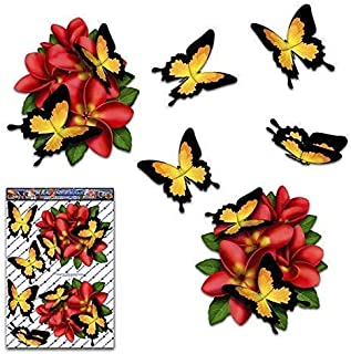 Bicycle Frangiapani ANIMAL Large Vinyl Sticker Pack For Laptop Red ST00041RD/_3 JAS Stickers/® PLUMERIA FLOWER BUTTERFLY Car Decals Phone Caravans Trucks