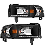DWVO Headlight Assembly Compatible with 94-01 Dodge Ram 1500/94-02 Dodge Ram 2500 3500 Headlamp Black Housing with Drl