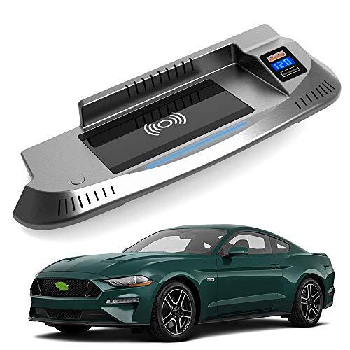 Braveking1 Caricatore Wireless Auto per Ford Mustang 2015 2016 2017 2018 2019 2020 2021 Pannello Accessori Console Centrale 15W Rapida Ricarica Telefono Pad con QC3.0 USB e 18W PD per iPhone Samsung