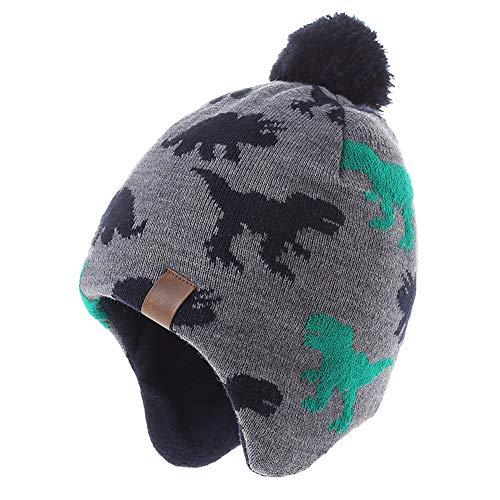 AHAHA Kinder Beanie Strickmütze Wintermütze Kindermütze, grüner Dinosaurier Hut, Gr.- 1-3 Jahre/ Etikettengröße- 51
