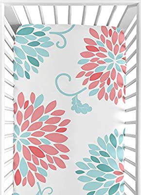 Fitted Crib Sheet for Modern Emma Baby/Toddler Bedding Set Collection - Floral Print