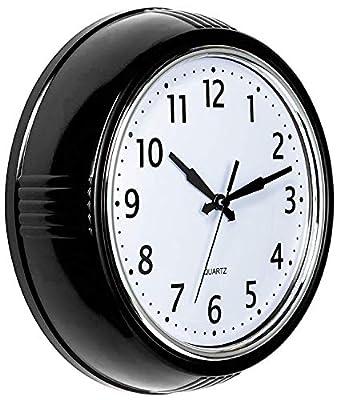 Bernhard Products Retro Wall Clock 9.5 Inch Red Kitchen 50's Vintage Design Round Silent Non Ticking Quality Quartz Clock