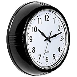 Bernhard Products Retro Wall Clock Black Silent Non Ticking 9.5 Inch Round Vintage Design Round Battery Operated Quality Quartz Clock Easy to Read for Home/Office/Classroom/Kitchen/School