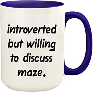 Introverted But Willing To Discuss Maze - 15oz Ceramic White Coffee Mug Cup, Deep Purple