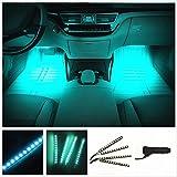 EJ's SUPER CAR カー内部LED装飾ライト シングルカラーモード 36ランプビーズ 高輝度 車内フロア ライト イルミネーション 車内 ネオンシガーソケット(ライトブルー)