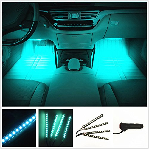 Car LED Strip Light, EJ's SUPER CAR 4pcs 36 LED Car Interior Lights Under Dash Lighting Waterproof Kit,Atmosphere Neon Lights Strip for Car,DC 12V(Ice Blue)