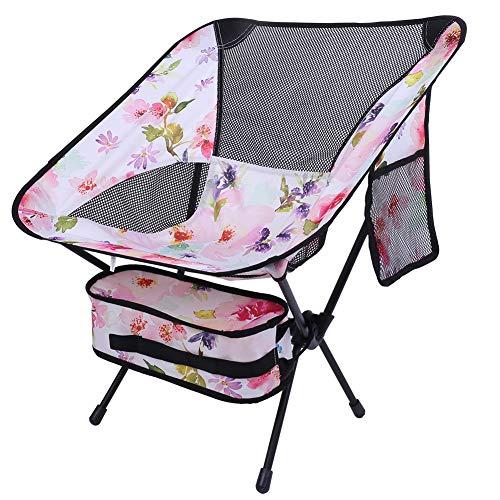 Jingli Baring silla de camping plegable portátil, silla de malla plegable ultraligera, perfecta para exteriores, camping, barbacoa, playa, viajes, picnic con bolsa de transporte