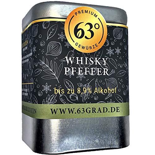 63 Grad - Whiskey Pfeffer - Hocharomatischer Tellicherrypfeffer in feinem Bourbon (60g)