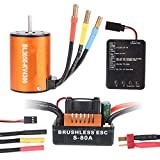 Crazepony-UK B3650 4300KV 4P Sensorless Brushless Motore CNC with 80A ESC Waterproof and Programming Card Combo Set for 1/10 RC Car