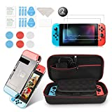 Younikoo Accessories Kit for Nintendo Switch Including Carrying Case/Switch Clear Cover Case/Thumb Stick Caps/Tempered Glass Screen Protector (2 Packs)