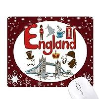 イングランドの国家の象徴のランドマークのパターン オフィス用雪ゴムマウスパッド